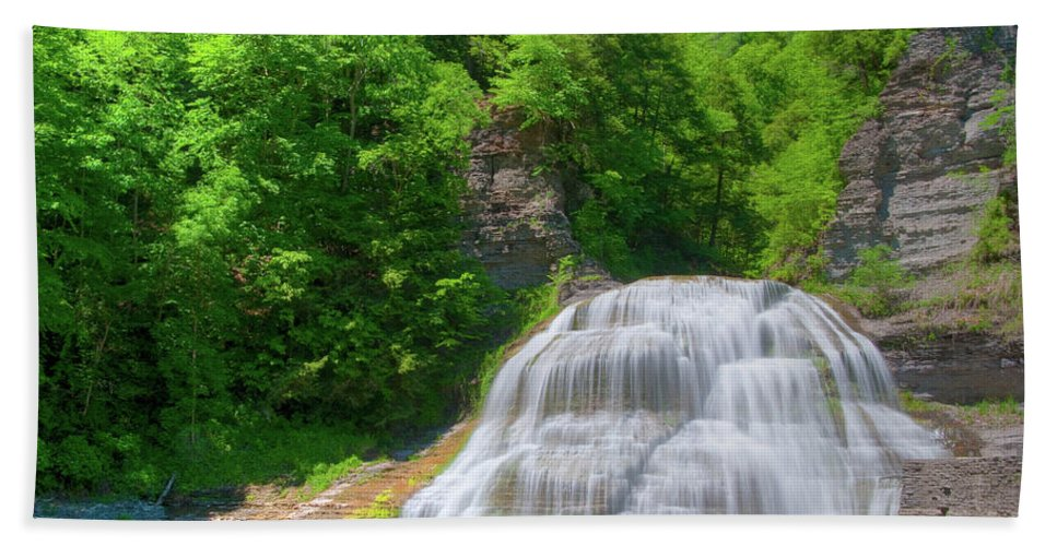 Waterfalls Beach Towel featuring the photograph Lower Falls 0485 by Guy Whiteley