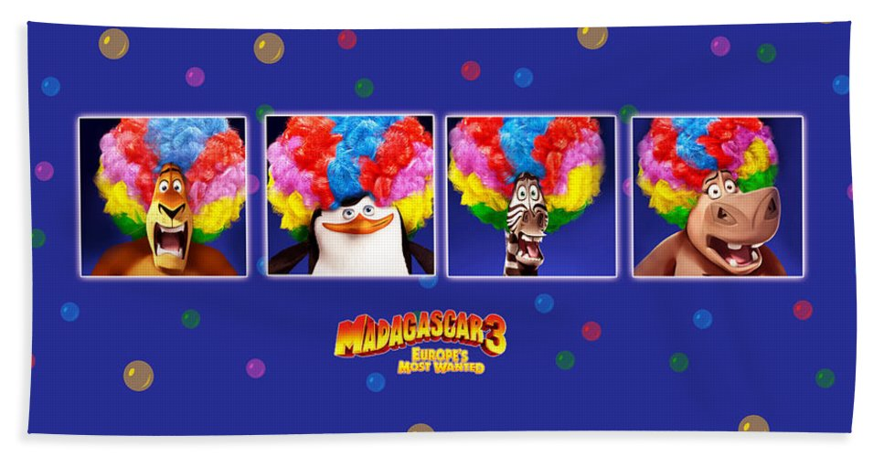 Madagascar 3 Europe's Most Wanted Beach Towel featuring the digital art Madagascar 3 Europe's Most Wanted by Maye Loeser