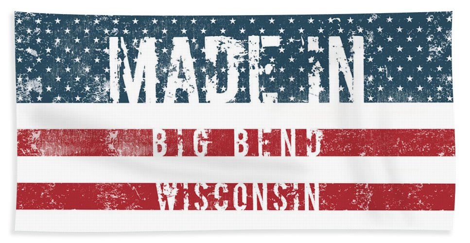 Big Bend Beach Sheet featuring the digital art Made In Big Bend, Wisconsin by Tinto Designs