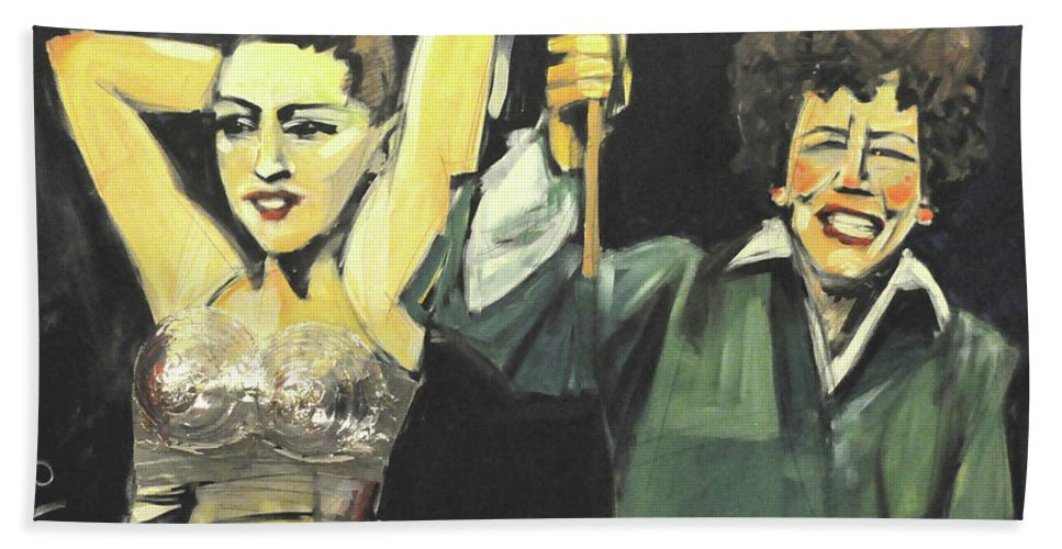Madonna Beach Towel featuring the painting Madonna And Child by Tim Nyberg