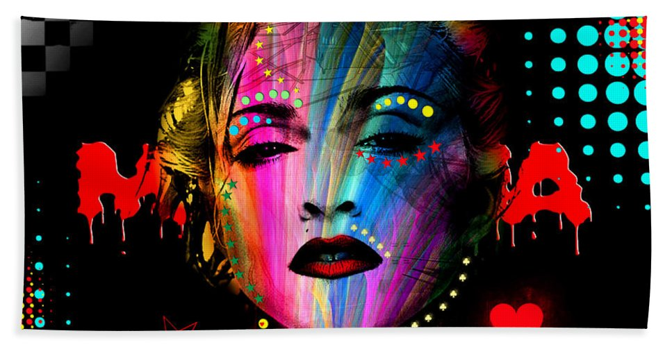 Pop Stars Beach Towel featuring the digital art Madonna by Mark Ashkenazi