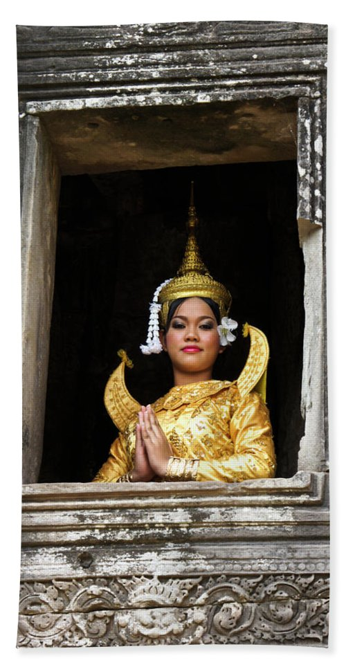 Asia Beach Towel featuring the photograph Makala Dancer In Cambodia by Michele Burgess