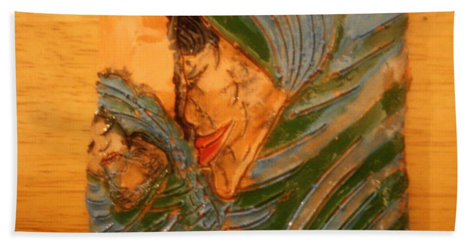 Jesus Beach Towel featuring the ceramic art Mama - Tile by Gloria Ssali