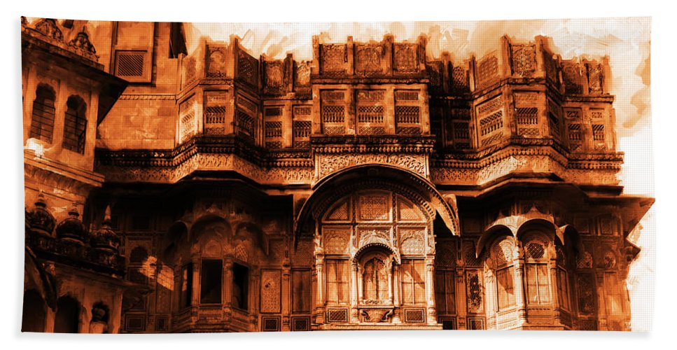 Mehrangarh Fort Jodhpur Beach Towel featuring the painting Mehrangarh Fort Jodhpur by Gull G