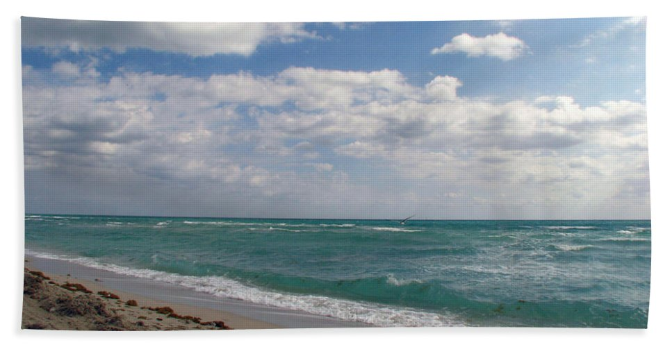 Miami Beach Beach Towel featuring the photograph Miami Beach by Amanda Barcon