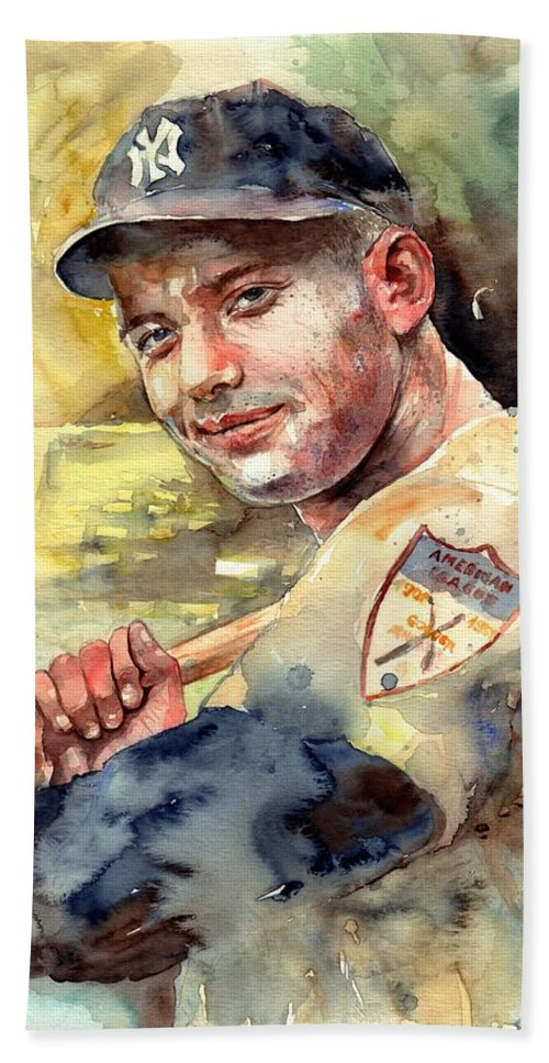 Mick Beach Towel featuring the painting Mickey Mantle Portrait by Suzann Sines