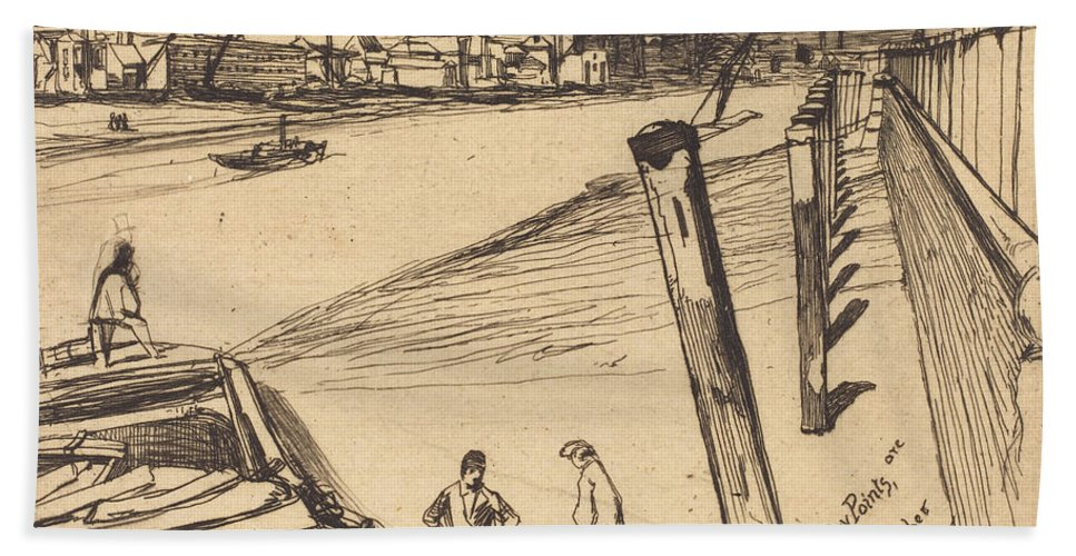Beach Towel featuring the drawing Millbank by James Mcneill Whistler