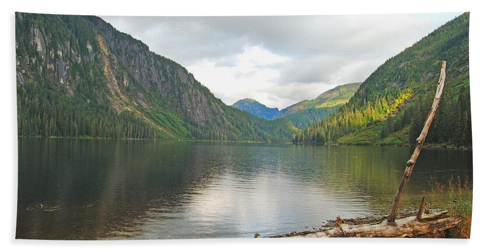 Alaska Beach Towel featuring the photograph Misty Fjord by Michael Peychich