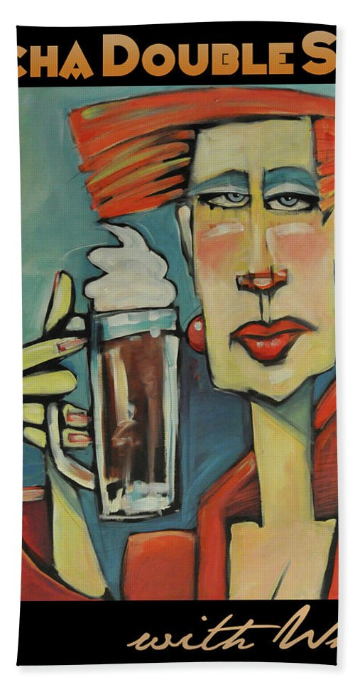 Woman Beach Towel featuring the painting Mocha Double Shot by Tim Nyberg