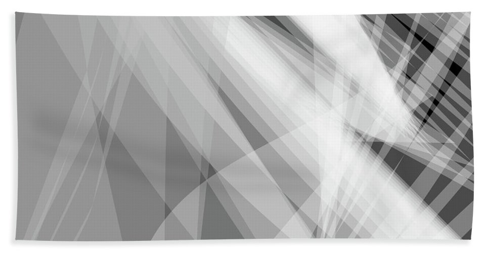 Wave Beach Towel featuring the digital art Monochrome White Abstract Vector Background, Gray Transparent Wa by Svetlana Corghencea