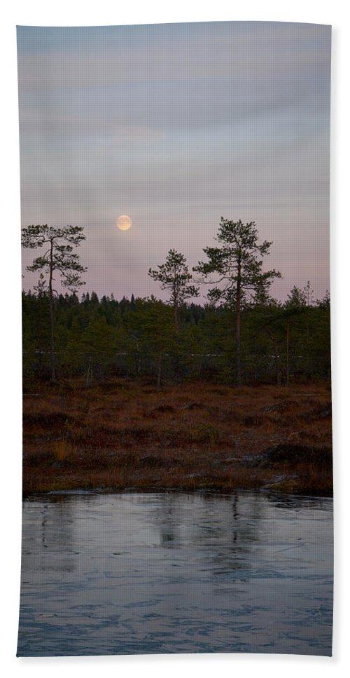 Lehtokukka Beach Towel featuring the photograph Moon Over Wetlands by Jouko Lehto