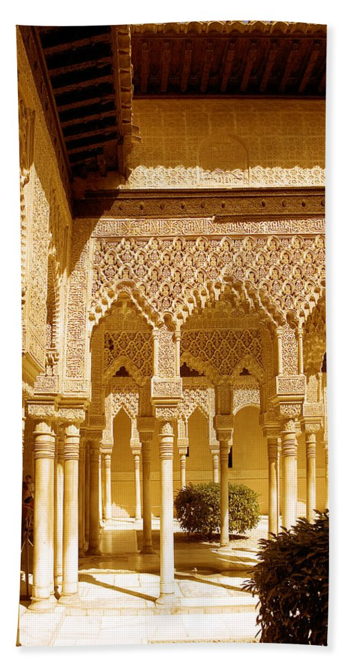 Moorish Beach Towel featuring the photograph Moorish Architecture In The Nasrid Palaces At The Alhambra Granada by Mal Bray