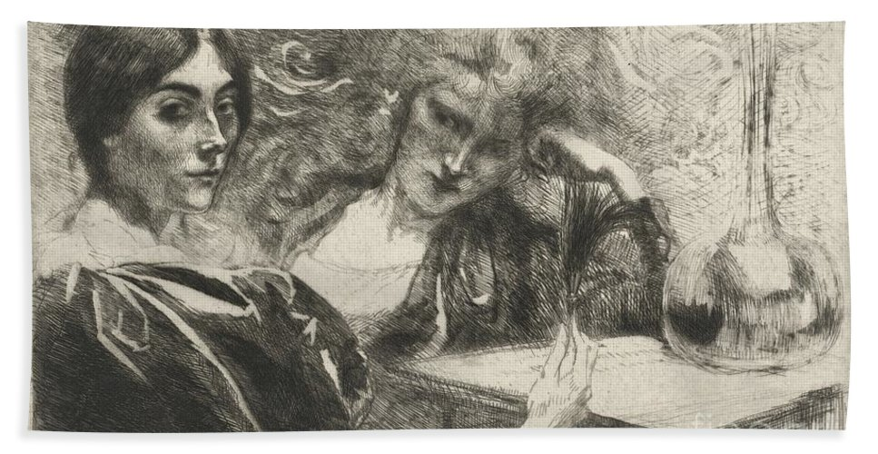 Beach Towel featuring the drawing Morphine Addicts (morphinomanes) by Albert Besnard