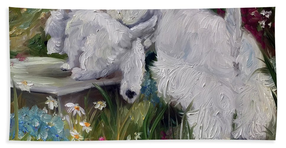Westie Beach Towel featuring the painting Mother's Day by Mary Sparrow
