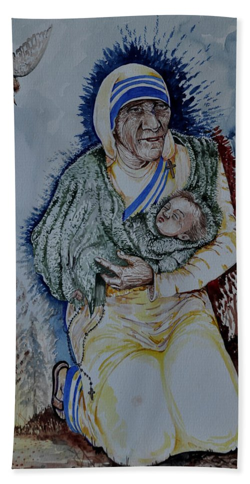 Mother Beach Towel featuring the painting Mother's Love by Joseph Franco