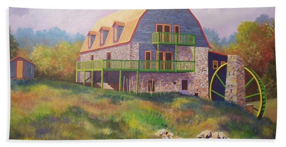 Mill Beach Towel featuring the painting Mountain Mill by Hugh Harris