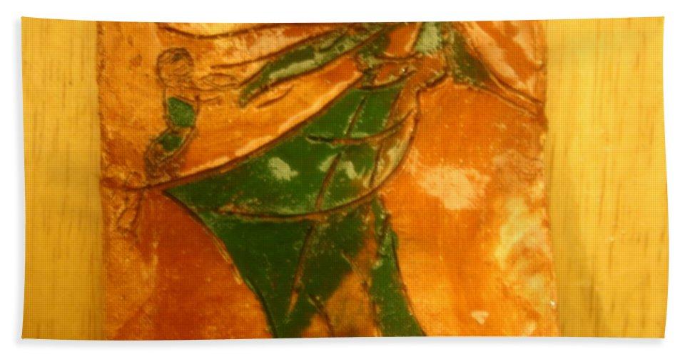 Jesus Beach Towel featuring the ceramic art Mums Gal - Tile by Gloria Ssali