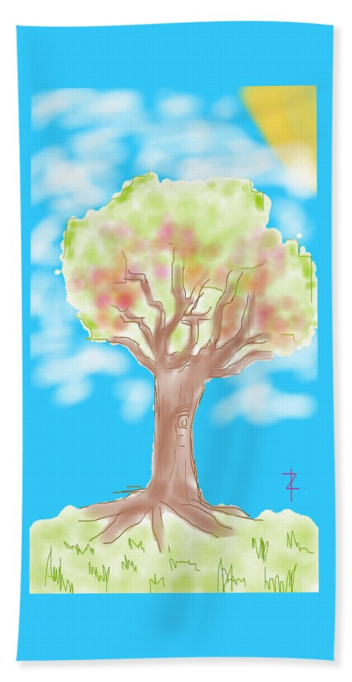 Tree Beach Towel featuring the painting Naturely by Rowena Caro