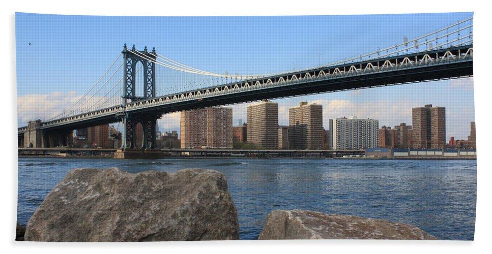 Nyc Beach Towel featuring the photograph New York's Manhattan Bridge by Dora Sofia Caputo Photographic Design and Fine Art