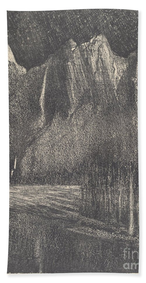 Beach Towel featuring the drawing Night In The Yosemite by Joseph Pennell