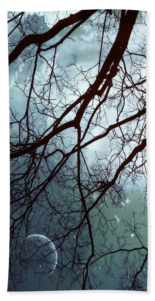 Night Sky Beach Sheet featuring the photograph Night Sky In The Woods by Marianna Mills