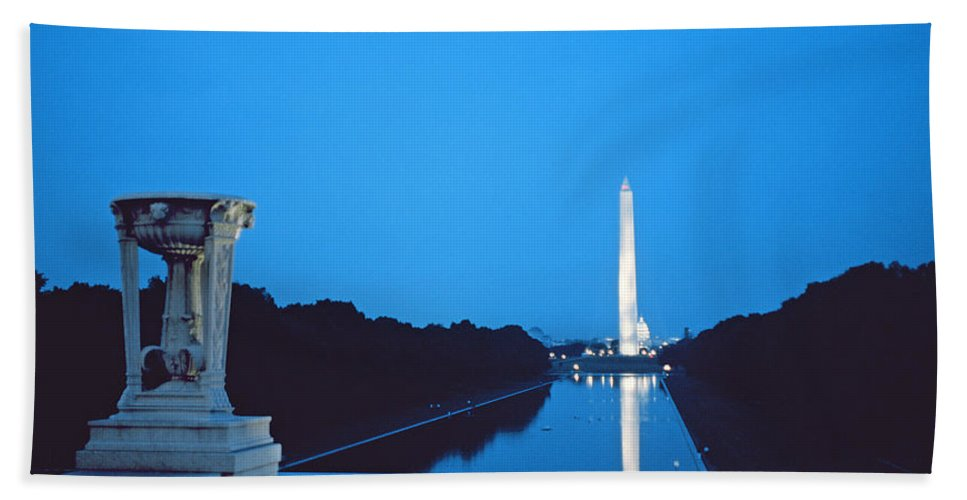 Night View Of The Washington Monument Across The National Mall (photo)washington Beach Towel featuring the photograph Night View Of The Washington Monument Across The National Mall by American School