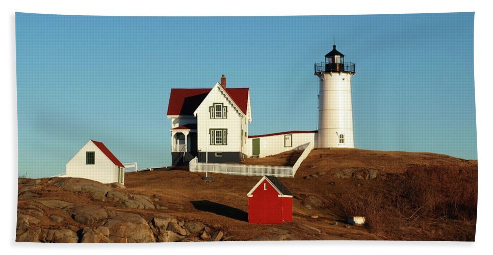 Nubble Beach Towel featuring the photograph Nubble Light House by Mary Capriole