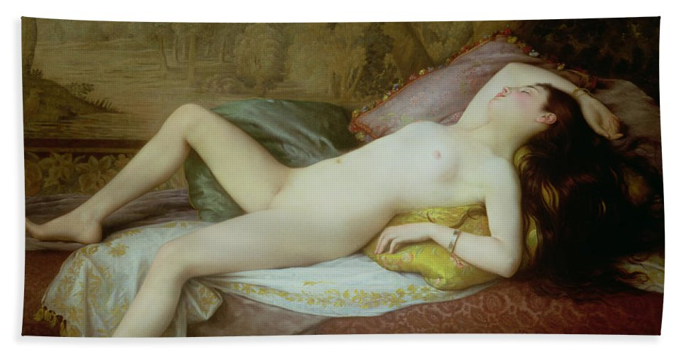 Nude Beach Towel featuring the painting Nude Lying On A Chaise Longue by Gustave-Henri-Eugene Delhumeau
