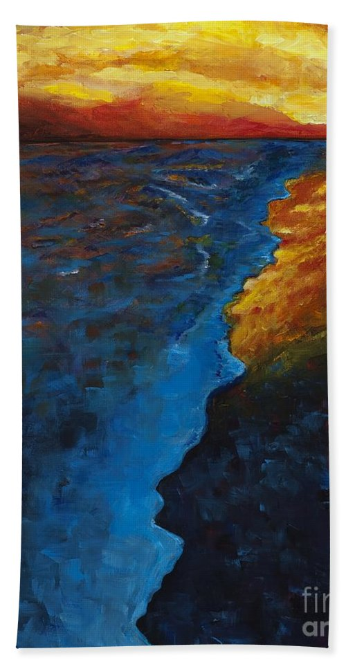 Abstract Ocean Beach Towel featuring the painting Ocean Sunset by Frances Marino