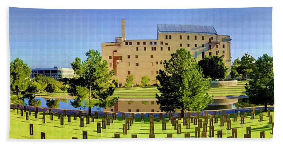 National Beach Towel featuring the photograph Oklahoma City National Memorial by Ricky Barnard