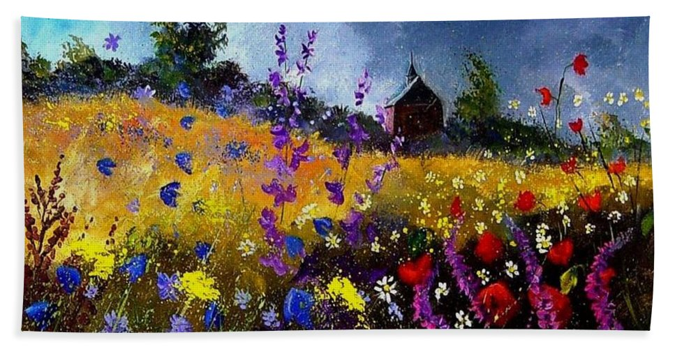 Flowers Beach Towel featuring the painting Old Chapel And Flowers by Pol Ledent