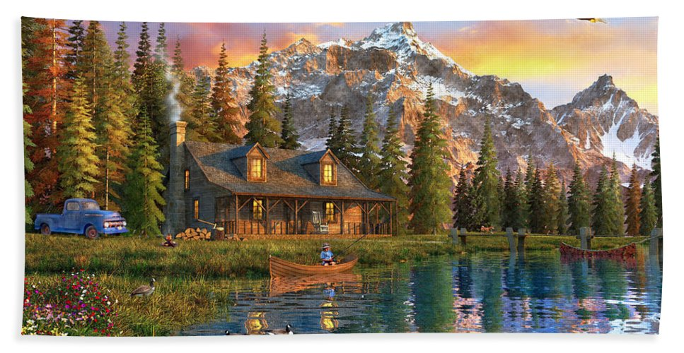 Cabin Beach Towel featuring the digital art Old Log Cabin by MGL Meiklejohn Graphics Licensing