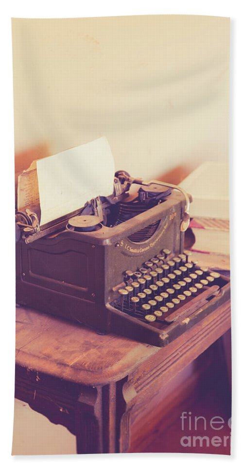 Antique Beach Sheet featuring the photograph Old Vintage Typewriter Kanab Utah by Edward Fielding