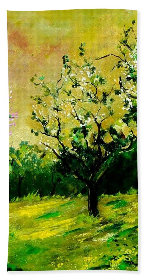 Landscape Beach Sheet featuring the painting Orchard by Pol Ledent