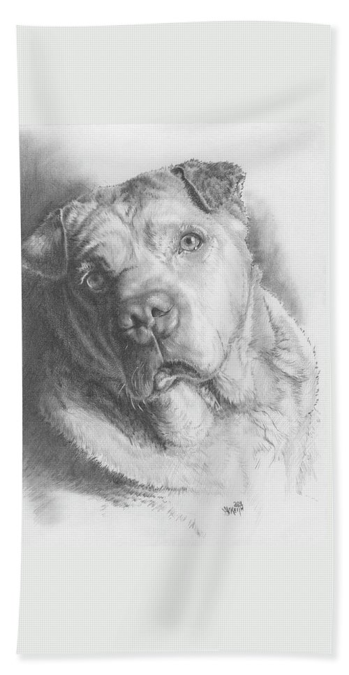 Mixed Breed Beach Towel featuring the drawing Maxie by Barbara Keith