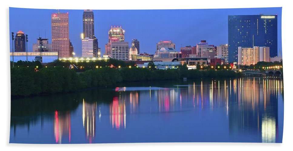 Indianapolis Beach Towel featuring the photograph Panoramic Indianapolis by Frozen in Time Fine Art Photography