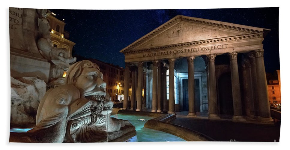 Art Landscapes Beautiful Stunning Colorful Photography Travel Dream Wall Picture Canvas Tourist World Sights Sightseeing Vacation Holiday Trip Bucket List Scenic Office Decor Modern Beach Towel featuring the digital art Pantheon Rome by Luis Da Silva