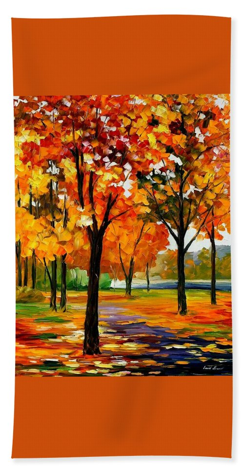 Afremov Beach Towel featuring the painting Park By The River by Leonid Afremov