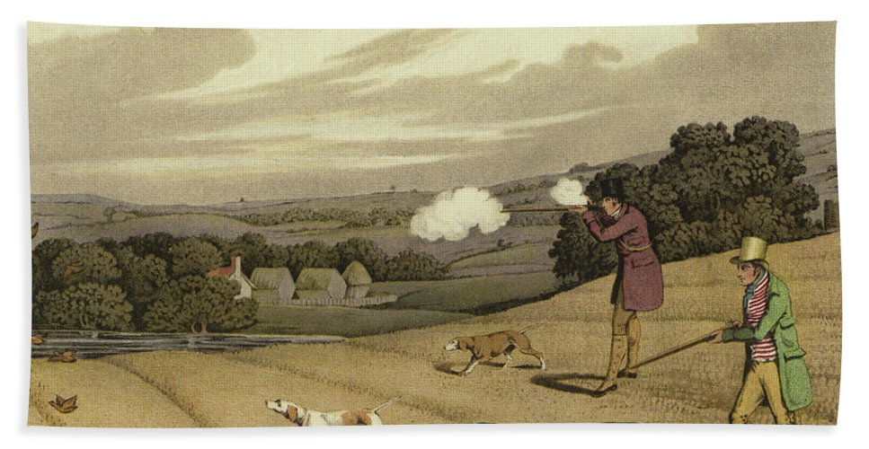 Partridge Shooting Beach Towel featuring the painting Partridge Shooting by Henry Thomas Alken