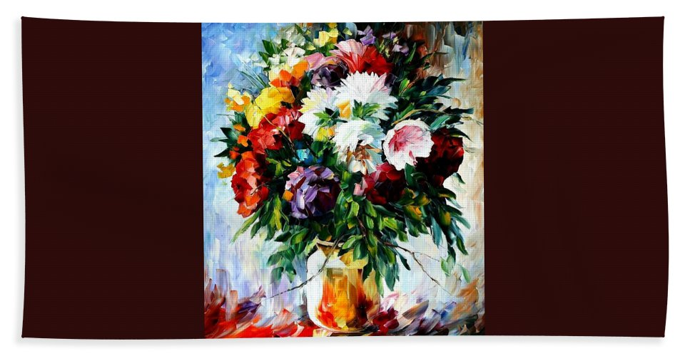 Afremov Beach Towel featuring the painting Peonies by Leonid Afremov
