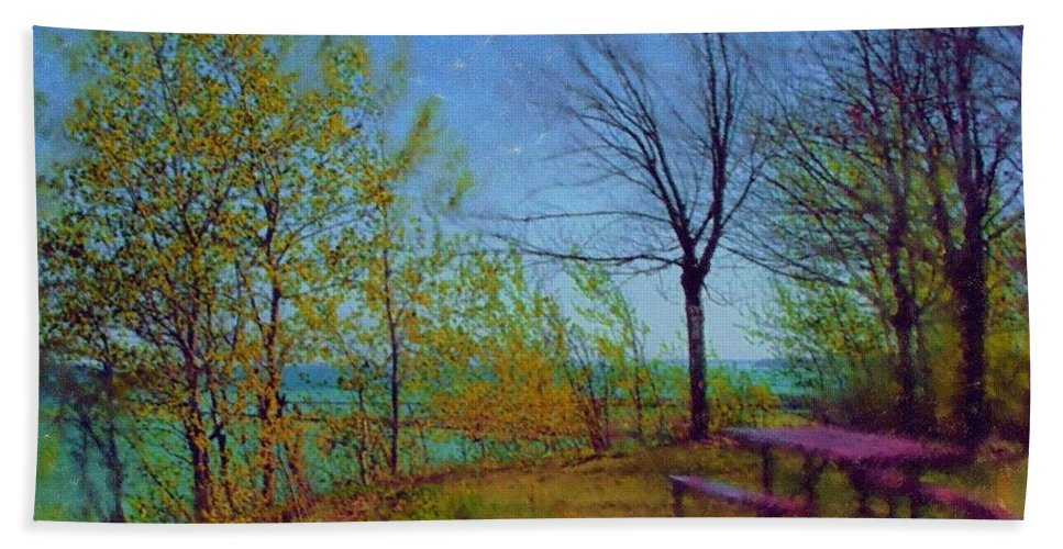 Lake Beach Towel featuring the digital art Picnic Table By The Lake by Anita Burgermeister