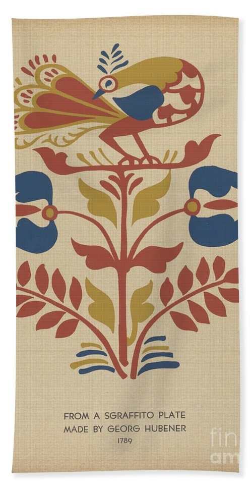 """Beach Towel featuring the drawing Plate 4: From Portfolio """"folk Art Of Rural Pennsylvania"""" by American 20th Century"""