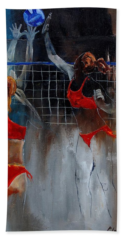 Sport Beach Towel featuring the painting Playing Volley by Pol Ledent