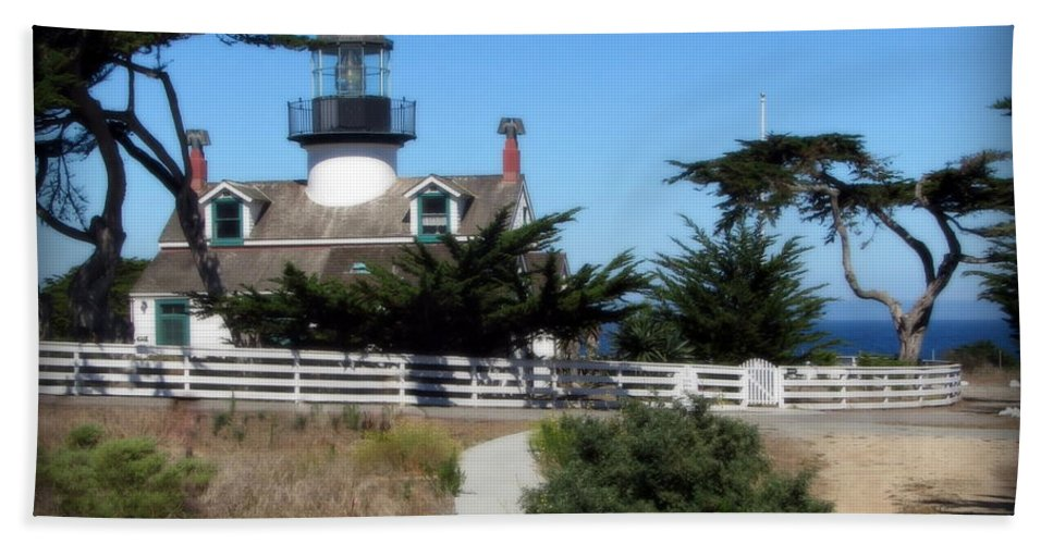 Lighthouse Beach Towel featuring the photograph Point Pinos Lighthouse In Pacific Grove, California by Joy Patzner