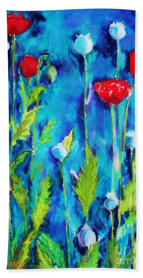 Poppies Beach Towel featuring the painting Poppies by Melinda Etzold