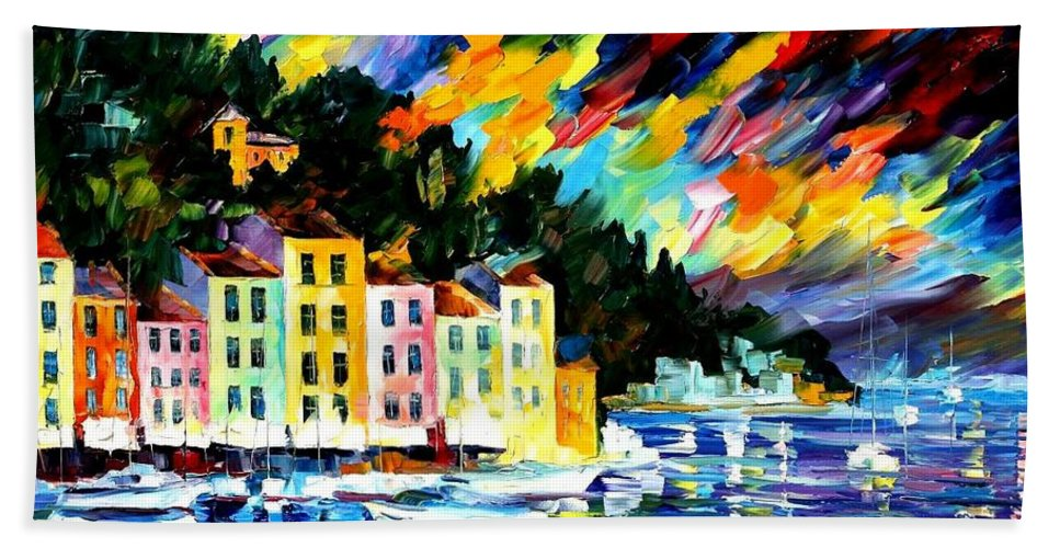 Afremov Beach Towel featuring the painting Portofino Harbor - Italy by Leonid Afremov