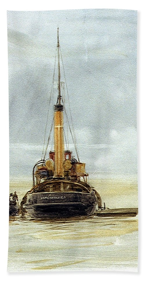 William Lionel Wyllie Beach Towel featuring the painting Portsmouth by William Lionel