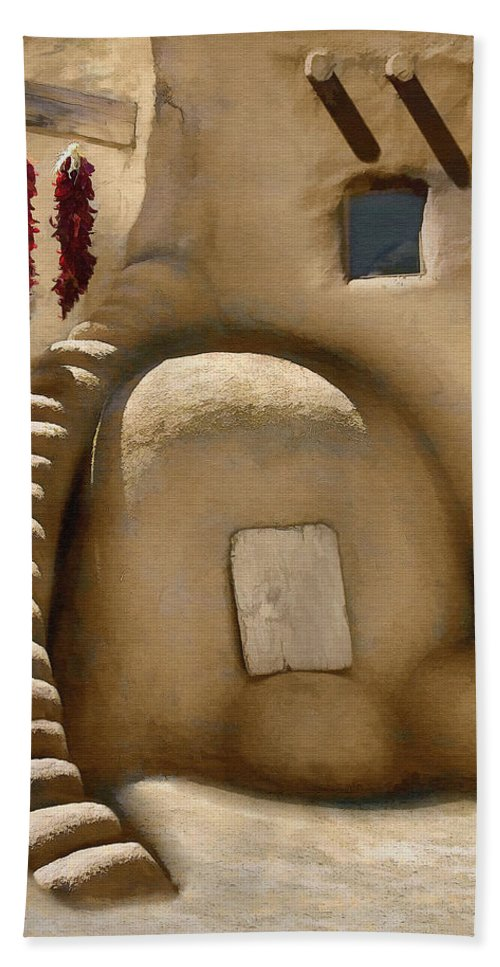 Oven Beach Towel featuring the digital art Pueblo Oven by Sharon Foster