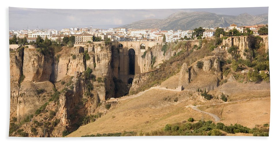 Ronda Beach Sheet featuring the photograph Puente Nuevo Tajo De Ronda Andalucia Spain Europe by Mal Bray