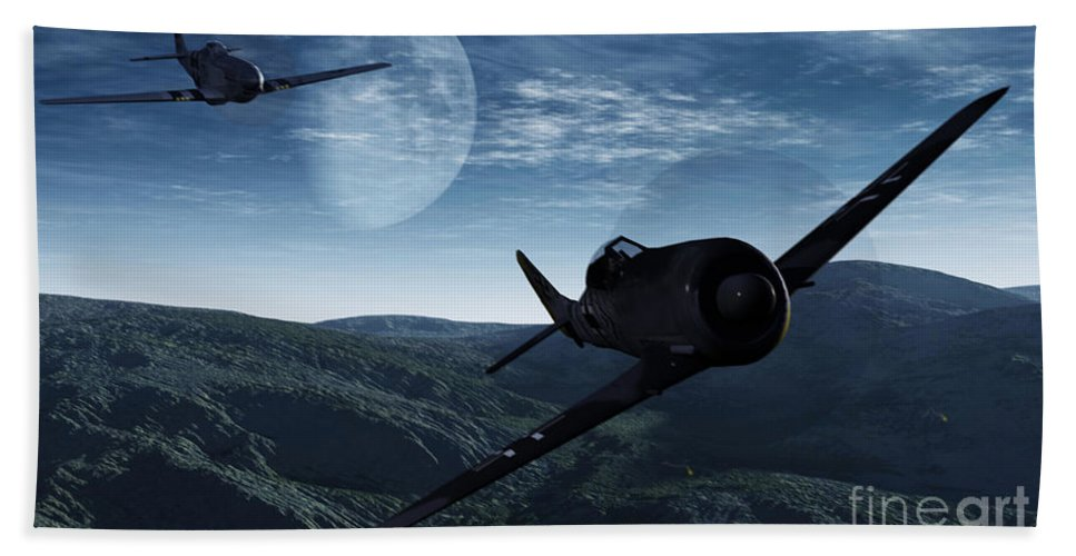 Dogfight Beach Towel featuring the digital art Pursuit Of The Fox by Richard Rizzo